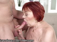 LustyGrandmas plumper red-haired GILF licks asshole arse of youthfull boy