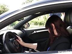 Kinky prosperous grandma manhandles youthfull spunk-pump after a lengthy drive
