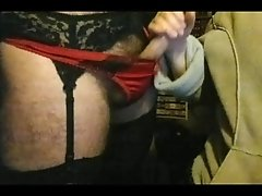 Handjob for hubby wearing wifes panties