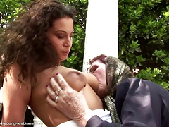 Village story - old rustic granny fucking young girl