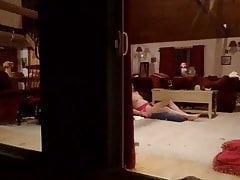 Hidden cam light-haired neighbor using tit pump, plaything and cushion