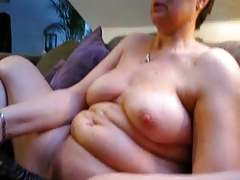 mature chubby wife masturbates with huge dildo