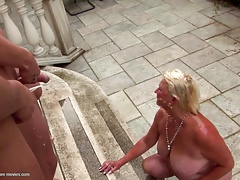 Pissing bukkake gangbang with kinky mother