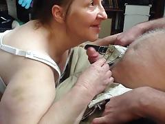 redhead granny bj & cum swallow