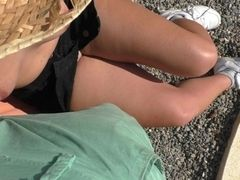 Hefty running in rivulets dual money-shot On ebony mini-skirt - cougar in lovely milky Sneakers