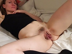 Slut wife Claire reluctantly shows her open pussy
