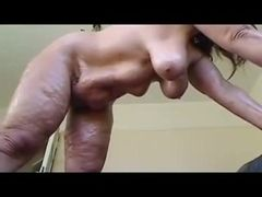 Aberrant X viscera (saggy, cellulite, mature) shows gut coupled with pussy (2/3)