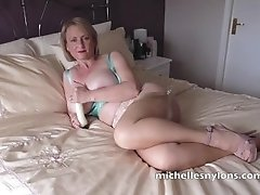 Busty Mom In Stockings Bedroom Dildo Play Pussy Orgasm