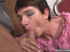 Horny mother inlaw fucks him