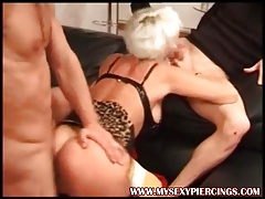My Sexy Piercings Pierced pussy mature in stockings threesom