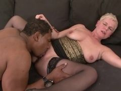 Discourteous crawl grandma takes lasting pussy shagging at the end of one's tether BBC