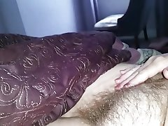 playing with her nipple, wife runs her ows hairy pussy