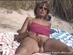 Hairy amateur mum outdoors